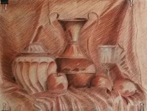 Dibujo a las tres tizas, dibujo trois crayons, metodo giotto, cursos de dibujo y pintura , bodegon