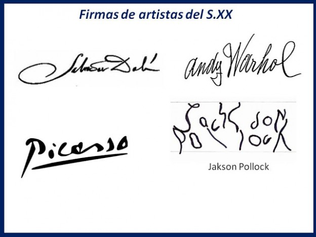 Diversas firmas de artistas famosos del S. XX