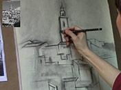 <strong>4 </strong>Perfila detalles y líneas con lápiz carbón.
