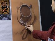 <strong>8 </strong>Usa la tiza o el lápiz blanco para  hacer los realces más claros del dibujo