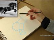 <strong>2 </strong>Dibuja todo el caballo con formas geométricas simples.